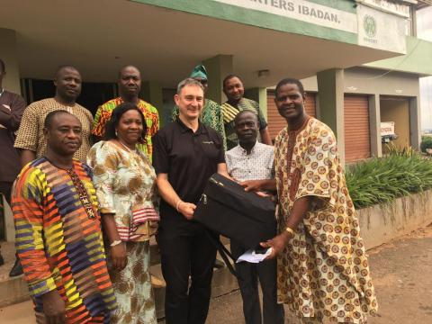 David Ojo (far right) accompanied by colleagues from NIHORT, Ibadan and Phil Malone from Access Agriculture
